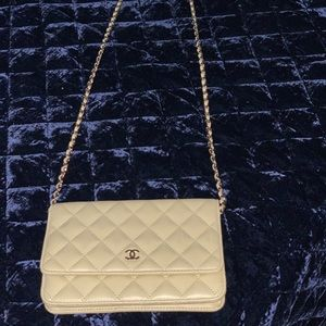 Never used yellow classic Chanel wallet on a chain